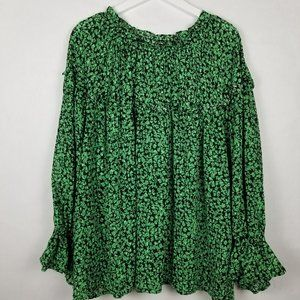 Who What Wear Green Black Floral Peasant Top - 3X